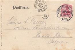 CARTE POSTALE TIMBRE N°69 DE LEIPZIG VERS BRUXELLES - Briefe U. Dokumente