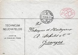 Brief ( Helvetia P20P 723)  CHAUX-DE-FONDS, Succ.Nord 31.III.36. ( Technicum Neuchatelois Division De La Chaux-de Fonds) - Affranchissements Mécaniques