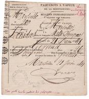 866/29 - Bulletin D' Embarquement Sur LEONIDAS De MARSEILLE à SMYRNE 1841 - Petit Cachet RRR Agence Des Paquebots MALTE - Maritime Post