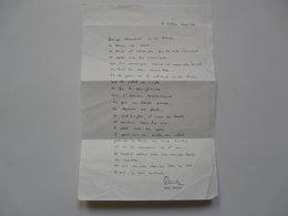 VIEUX PAPIERS - PAROLES D'UNE CHANSON POUR MOUSTAKI DE SERGE REGGIANI - Autographs