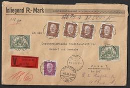1930 Dt.Reich MiF WERTBRIEF Berlin N. Wien - 18000 Rm Mi. 343,367 X 3, 418,420 X 4,436 - Alemania