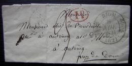 Riom 1831 Lettre Pour Antoingt (Puy De Dôme), + Cachet Rouge Décime Rural - Poststempel (Briefe)