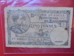BELGIQUE 5 FRANCS 1938 CIRCULER (B.7) - 5 Franchi