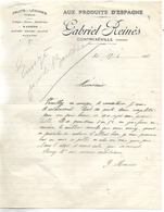 2 Factures 1928-52 / 88 CONTREXEVILLE / G. REINES / Aux Produits D'Espagne / Fruits, Légumes - 1900 – 1949