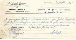 Attestation Kms 1941 / 88 CONTREXEVILLE / G. REINES / Aux Produits D'Espagne / Fruits, Légumes / Militaria Pneus Vélo - France