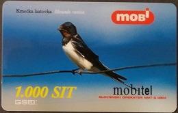 Prepaidcard Slowenien - Vogel,bird - Rauschschwalbe - 12/2001 - Slovenië