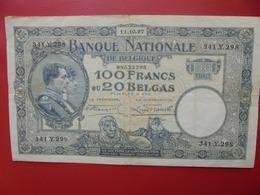 BELGIQUE 100 FRANCS 1927 CIRCULER (B.7) - 100 Francos & 100 Francos-20 Belgas