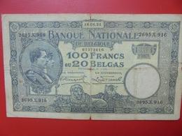 BELGIQUE 100 FRANCS 1931 CIRCULER (B.7) - [ 2] 1831-... : Regno Del Belgio