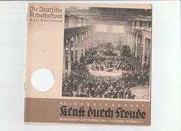 KDF-Monatsheft,September 1940, NS-Magazine Kraft Durch Freude, Die Deutsche Arbeitsfront,Gau Saxonia, (Chemnitz) - Tempo Libero & Collezioni