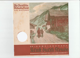 KDF-Monatsheft,Februar 1940, NS-Magazine Kraft Durch Freude, Die Deutsche Arbeitsfront,Gau Saxonia, (Chemnitz) - Tempo Libero & Collezioni