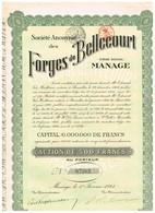 Titre Ancien - Société Anonyme Des Forges De Bellecourt - Titre De 1924 - N°04666 - Industrie
