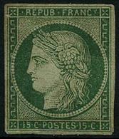 * N°2 15c Vert, Inégalités D'épaisseur De Papier (d'origine) Plusieurs Signatures Au Verso - B. - 1849-1850 Cérès