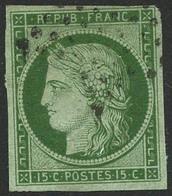 Oblit. N°2 15c Vert - TB. - 1849-1850 Cérès