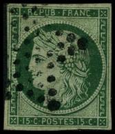 Oblit. N°2 15c Vert - B. - 1849-1850 Cérès