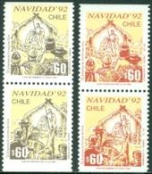 CHILE 1992 CHRISTMAS PAIRS** (MNH) - Chile