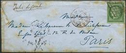 Lettre N°2 15c Vert, Obl Grille S/lettre Cachet D'arrivée Au Verso 17/1/51 - TB - 1849-1850 Ceres