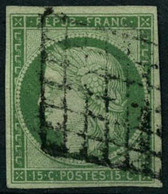 Oblit. N°2a 15c Vert Clair - TB. - 1849-1850 Cérès