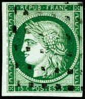 Oblit. N°2b 15c Vert Foncé, Signé Brun Et Roumet TB - 1849-1850 Cérès