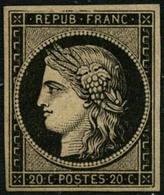 * N°3 20c Noir S/jaune, éclats De Gomme Sinon TB - 1849-1850 Cérès