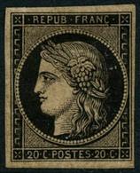 * N°3b 20c Noir S/chamois - TB. - 1849-1850 Cérès