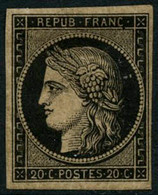 * N°3b 20c Noir S/chamois - TB. - 1849-1850 Ceres