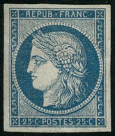 * N°4 25c Bleu, Signé Calves Et Brun - TB. - 1849-1850 Ceres