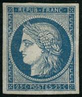 * N°4 25c Bleu, Signé Calves Et Brun - TB. - 1849-1850 Cérès