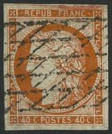 Oblit. N°5 40c Orange, Signé Brun - TB. - 1849-1850 Cérès