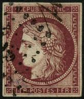 Oblit. N°6 1F  Carmin Foncé, Signé Brun - TB. - 1849-1850 Cérès