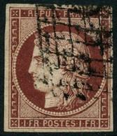 Oblit. N°6 1F  Carmin Foncé, Signé Brun - TB. - 1849-1850 Ceres