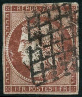 Oblit. N°6A 1F Rouge Brun, Pelurage Au Verso - B. - 1849-1850 Cérès