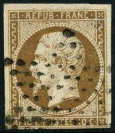 Oblit. N°9 10c Bistre, Infime Pelurage, Signé Calves - B - 1852 Louis-Napoleon