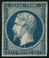 * N°10 25c Bleu, Charnière Un Peu Forte - B. - 1852 Luis-Napoléon