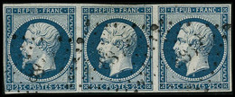 Oblit. N°10 25c Bleu, Bande De 3 - TB - 1852 Louis-Napoleon