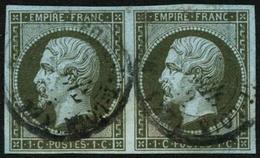 Oblit. N°11 1c Olive, Paire - TB - 1853-1860 Napoléon III