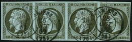 Oblit. N°11 1c Olive, Bande De 4 (cote Cérès 2008) TB - 1853-1860 Napoleon III