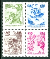 CHILE 1987 LEGENDS BLOCK OF 4 WITH DS 20 OVERPRINT ON BACK** (MNH) - Chile