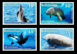 Bahamas 2019 Marine Mammal Research Organization Whales Manatee Part III 4v MNH - Baleines