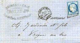 Ambulant De Nuit B 1873 Clermont à Paris Losange P 60A Cérès 25c Quincaillerie Crozat Jne Vichy - Poststempel (Briefe)
