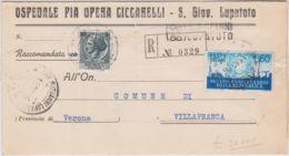 1956 ANNIVERSARIO REPUBBLICA Lire 60 E Siracusana Lire 5 Su Piego Raccomandato San Giovanni Lupatoto (18.10) - 6. 1946-.. Republic