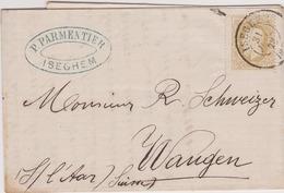 32 Brief / Lettre - ISEGHEM - IZEGEM  >> WANGEN 1875.  SUISSE / AMB-EST - 1869-1883 Léopold II