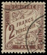 FRANCE Taxe O - 26, 2f. Marron - Cote: 200 - 1859-1955 Oblitérés