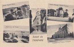 TRAPANI-SALUTI DA-MULTIVEDUTE-(5 IMMAGINI)-CARTOLINA NON VIAGGIATA -ANNO 1920-1930 - Trapani
