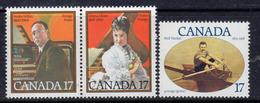 Canada 1980 Famous Canadians Set Of 3, MNH, SG 983/5 - 1952-.... Reign Of Elizabeth II
