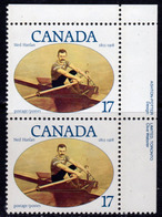 Canada 1980 Famous Canadians Hanlan Rower Marginal Pair, MNH, SG 985 - 1952-.... Reign Of Elizabeth II
