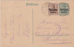Entier N°9 + BZ 11 THUIN -1916 >> MAUBEUGE - German Occupation