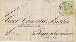 """NORDDEUTSCHER POSTBEZIRK 1869, 1/3 Gr. Grün EF Auf Drucksache (Teil) Mit K2 """"DRESDEN / 4"""" Nach RAUSCHENBACH - Norddeutscher Postbezirk (Confederazione Germ. Del Nord)"""