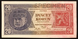 Ceskoslovenska CECOSLOVACCHIA 20 KORUN 1926 SPECIMEN UNC- Q.fds P-21s Lotto 2738 - Slowakije