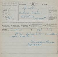 TELEGRAMME - TELEGRAM  Obl. Octogonale HANNUT >> ABOLENS  1929 - Stamped Stationery