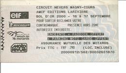 Ticket D'entrée MOTO - BOL D'OR 2000 - Circuit De Nevers Magny Cours - Tickets D'entrée